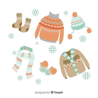 Handgezeichnete winterkleidung und essentials