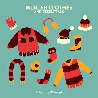 Handgezeichnete winterkleidung