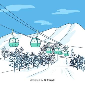 Handgezeichnete winterlandschaft