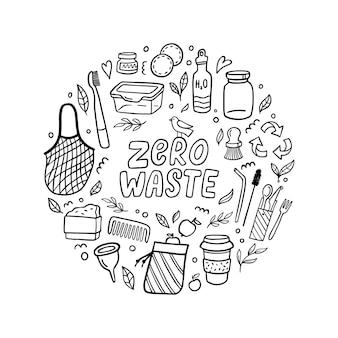 Handgezeichnete zero waste elemente