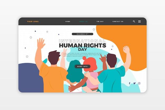 Handgezeichnete zielseitenvorlage für den internationalen tag der menschenrechte