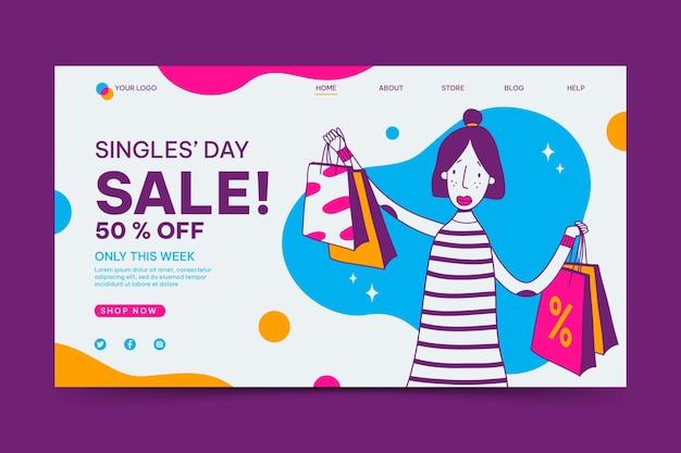 Handgezeichnete zielseitenvorlage für den singletag
