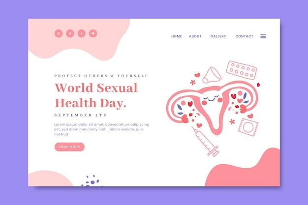 Handgezeichnete zielseitenvorlage für den welttag der sexuellen gesundheit