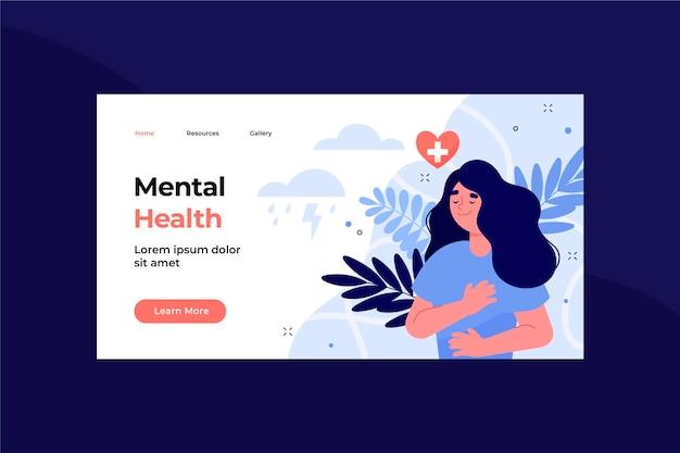 Handgezeichnete zielseitenvorlage für psychische gesundheit