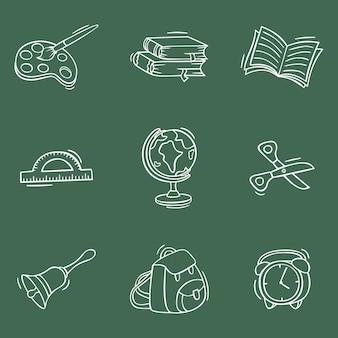 Handgezeichnete zurück zum schulsymbol im doodle-stil