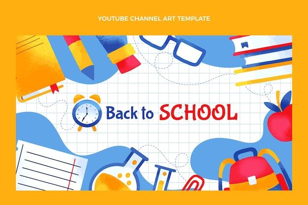 Handgezeichnete zurück zur schule-youtube-kanal-kunstvorlage