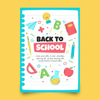 Handgezeichnete zurück zur vertikalen flyer-vorlage für die schule