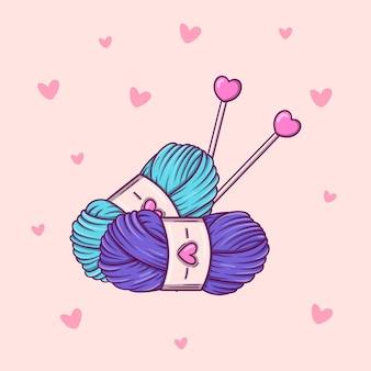 Handgezeichnete zwei stränge garn und nadeln im doodle-stil auf rosafarbenem hintergrund mit herzen.
