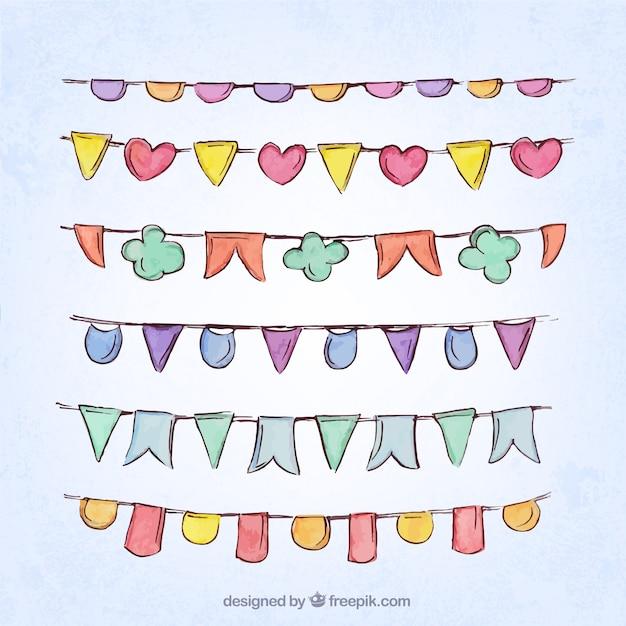 Handgezeichneten farbigen girlande sammlung