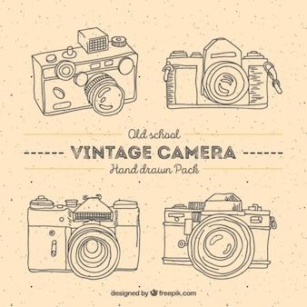 Handgezeichneten jahrgang fotokameras