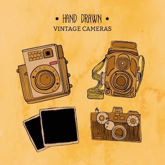 Handgezeichneten jahrgang kameras pack