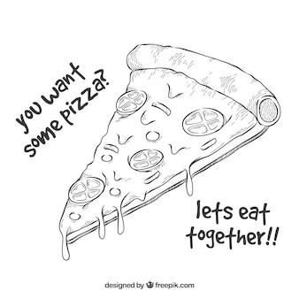 Handgezeichneten pizzaschnecken hintergrund