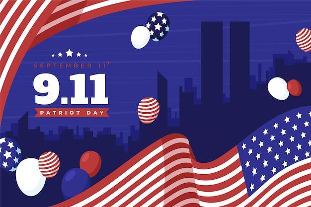 Handgezeichneter 9.11 patriot tag hintergrund