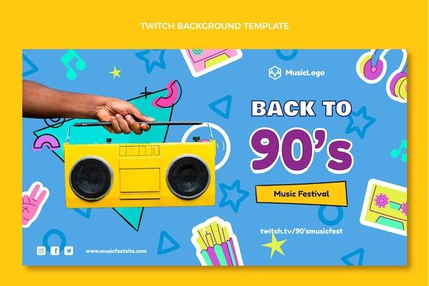 Handgezeichneter 90er jahre nostalgischer musikfestival-twitch-hintergrund