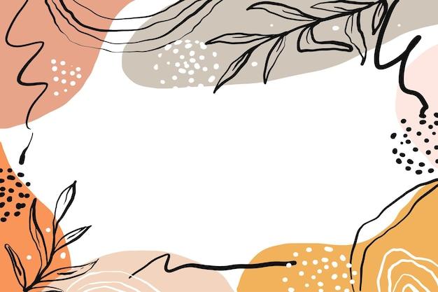 Handgezeichneter abstrakter hintergrund der minimalistischen form mit farbpastell