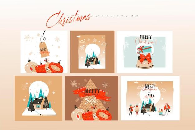 Handgezeichneter abstrakter spaß frohe weihnachten und ein glückliches neues jahr cartoon-karten-bündel-set