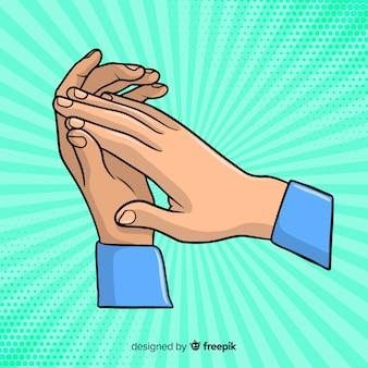Handgezeichneter applaus mit sunburst-effekt