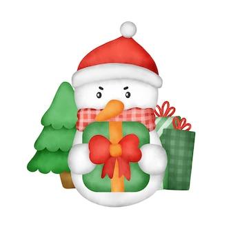 Handgezeichneter aquarell schneemann für weihnachtsgrußkarte.