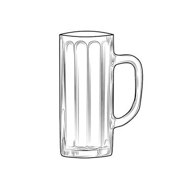 Handgezeichneter bierkrug. gravur-stil. vektor-illustration isoliert auf weißem hintergrund