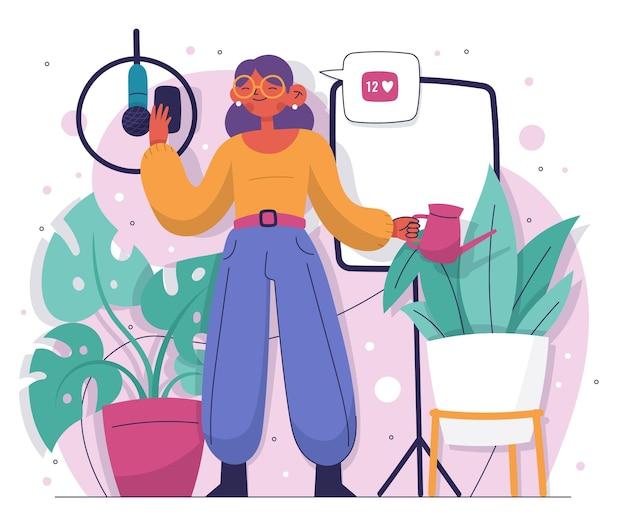 Handgezeichneter blogger illustriert
