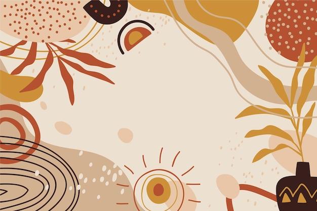 Handgezeichneter boho-hintergrund mit blättern