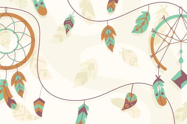 Handgezeichneter boho-hintergrund mit federn und traumfänger