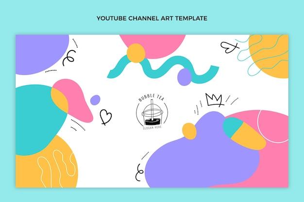 Handgezeichneter bubble tea youtube-kanal