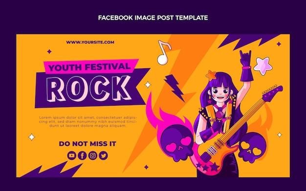 Handgezeichneter bunter musikfestival-facebook-beitrag