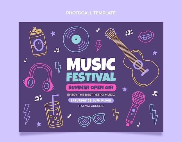 Handgezeichneter bunter musikfestival-fototermin
