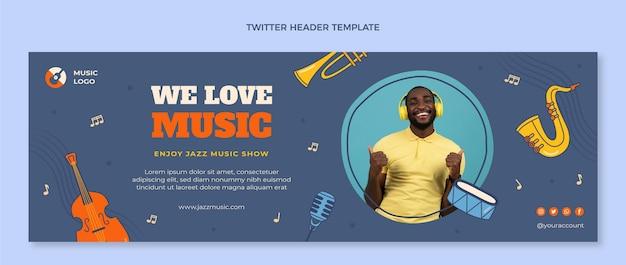 Handgezeichneter bunter musikfestival-twitter-header