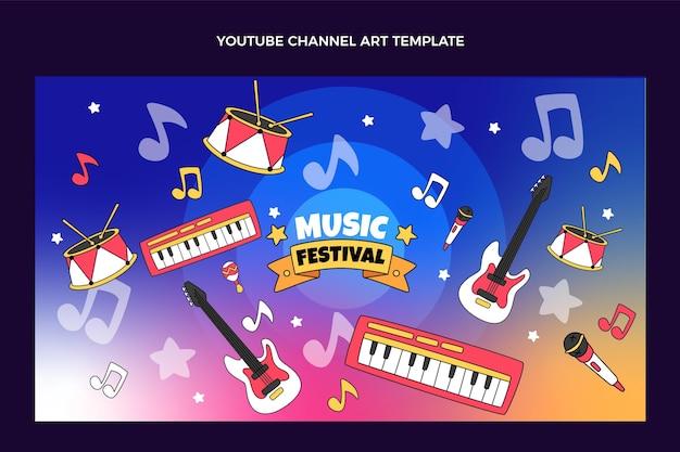 Handgezeichneter bunter musikfestival-youtube-kanal