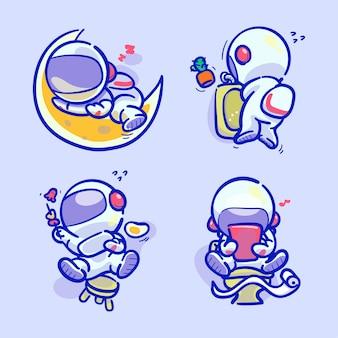 Handgezeichneter bunter süßer astronaut, der tägliche routineaktivitäten macht