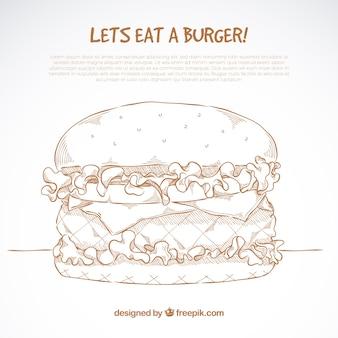 Handgezeichneter cheeseburger mit salat