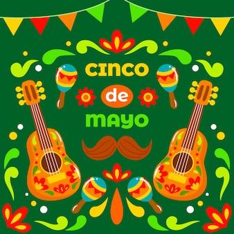 Handgezeichneter cinco de mayo tag