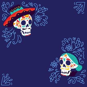 Handgezeichneter dia de muertos hintergrund