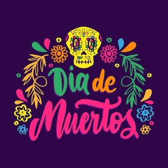 Handgezeichneter dia de muertos-schriftzug