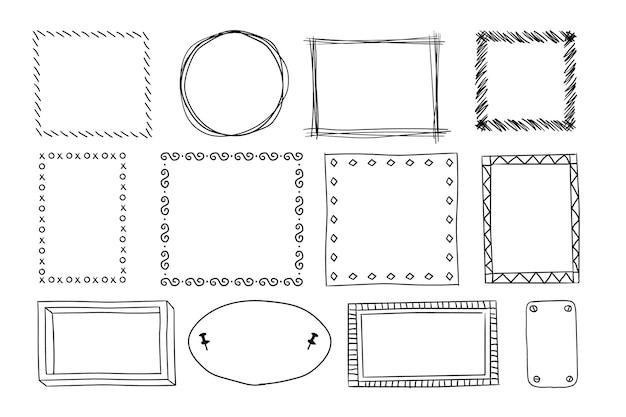 Handgezeichneter doodle-rahmen-set