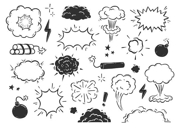 Handgezeichneter explosionsbombenrauch