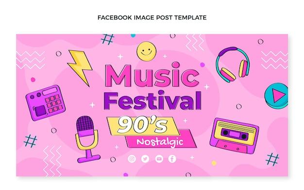 Handgezeichneter facebook-beitrag zum musikfestival der 90er jahre