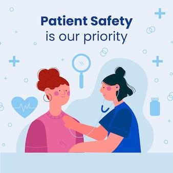 Handgezeichneter facebook-beitrag zur patientensicherheit