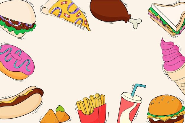 Handgezeichneter fast-food-hintergrund