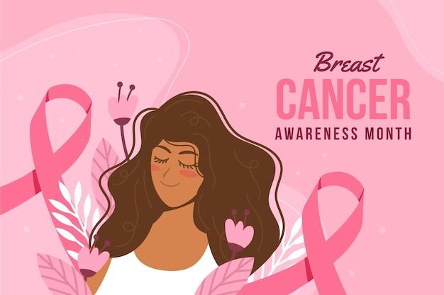 Handgezeichneter flacher brustkrebs-bewusstseinsmonatshintergrund
