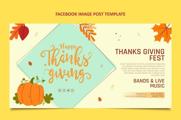Handgezeichneter flacher design-danksagungs-facebook-beitrag