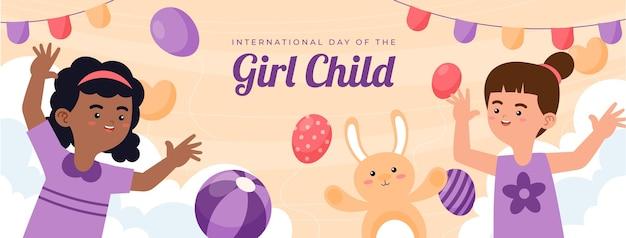 Handgezeichneter flacher internationaler tag der social-media-cover-vorlage des mädchenkindes