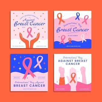 Handgezeichneter flacher internationaler tag gegen brustkrebs instagram posts sammlung