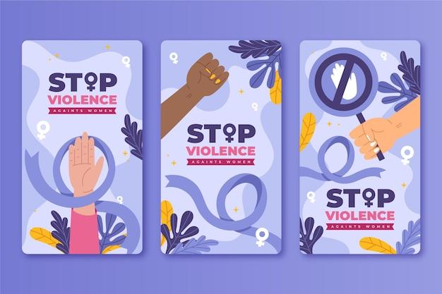 Handgezeichneter flacher internationaler tag zur beseitigung von gewalt gegen frauen instagram-geschichtensammlung