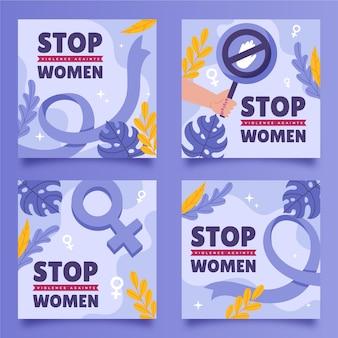 Handgezeichneter flacher internationaler tag zur beseitigung von gewalt gegen frauen instagram-posts-sammlung