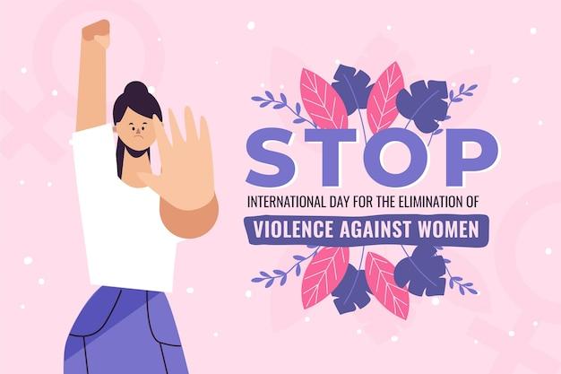 Handgezeichneter flacher internationaler tag zur beseitigung von gewalt gegen frauenhintergrund