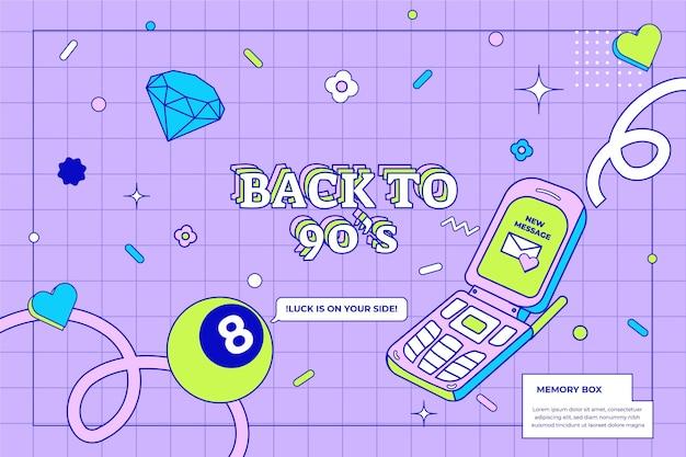Handgezeichneter flacher nostalgischer hintergrund der 90er jahre