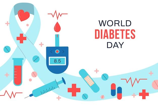 Handgezeichneter flacher weltdiabetes-tageshintergrund